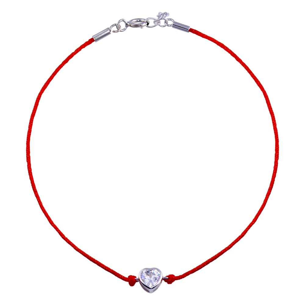 Wholesale Sterling Silver 925 Rhodium Plated Single Heart CZ Red Cord Bracelet - STB00599