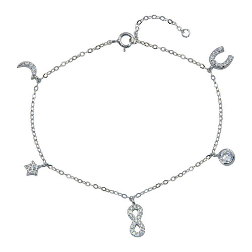 Wholesale Sterling Silver 925 Rhodium Plated CZ Horse Shoe Infinity Star Moon Charm Bracelet - STB00604