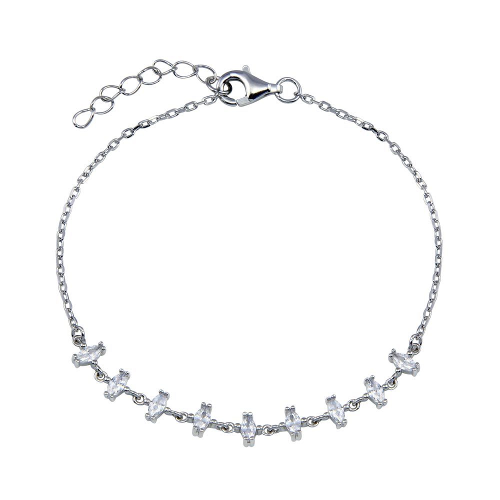 Wholesale Sterling Silver 925 Rhodium Plated CZ Chain Bracelet -STB00606