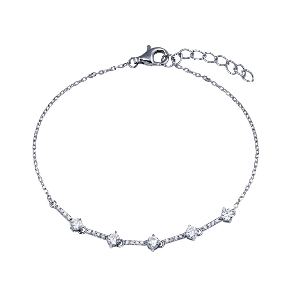 Wholesale Sterling Silver 925 Rhodium Plated CZ Link Chain Bracelet -STB00607