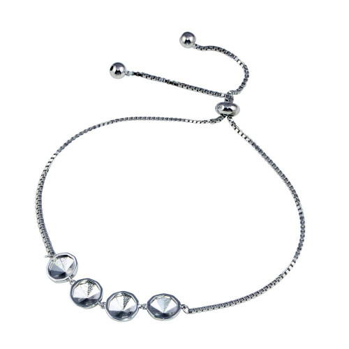 Wholesale Sterling Silver 925 Rhodium Plated 4 Disc Lariat Chain Bracelet -STB00610
