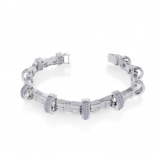 Men's Wholesale Sterling Silver 925 Rhodium Plated CZ Encrusted Arc Bracelet - STBM03