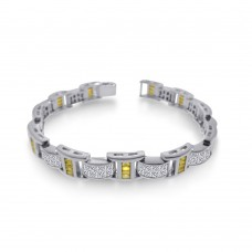 Men's Wholesale Sterling Silver 925 Rhodium Plated Clear and Yellow CZ Link Bracelet - STBM05Y