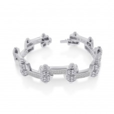 Wholesale Sterling Silver 925 Rhodium Plated DC CZ Alternating Hinge Men's Bracelet - STBM09