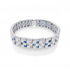 Men's Wholesale Sterling Silver 925 Rhodium Plated Blue and Clear CZ Domino Design Bracelet - STBM12BLU