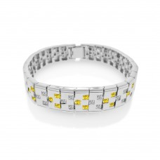 Men's Sterling Silver Rhodium Plated Yellow and Clear CZ Domino Design Bracelet - STBM12Y