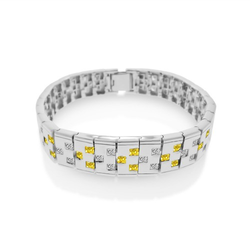 Wholesale Men's Sterling Silver 925 Rhodium Plated Yellow and Clear CZ Domino Design Bracelet - STBM12Y