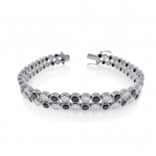 Men's Wholesale Sterling Silver 925 Rhodium Plated 2 Row Clear and Black CZ Bubble Bracelet - STBM18BLK