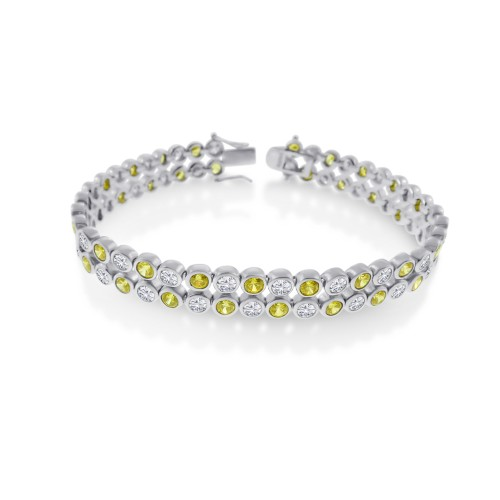 Men's Wholesale Sterling Silver 925 Rhodium Plated 2 Row Clear and Yellow CZ Bubble Bracelet - STBM18Y