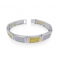 Men's Wholesale Sterling Silver 925 Rhodium Plated Rectangle Bar Clear and Yellow CZ Link Bracelet - STBM22
