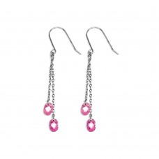 **Closeout** Wholesale Sterling Silver 925 Rhodium Plated Pink CZ Drop Earrings - STE00065PNK