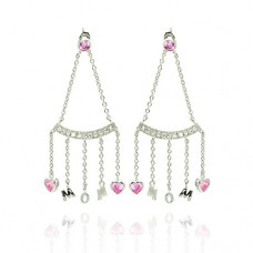 **Closeout** Wholesale Sterling Silver 925 Rhodium Plated Dangling Hearts Mom Earrings - STE00116