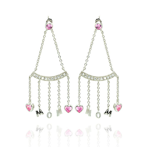 -Closeout- Wholesale Sterling Silver 925 Rhodium Plated Dangling Hearts Mom Earrings - STE00116