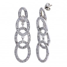 **Closeout** Wholesale Sterling Silver 925 Rhodium Plated Four Round CZ Dangling Earrings - STE00143