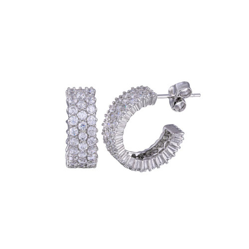 Wholesale Sterling Silver 925 Rhodium Plated Pave CZ Huggie Earrings - STE00516CLR