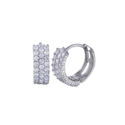 Wholesale Sterling Silver 925 Rhodium Plated Clear CZ Three Huggie Earrings - STE00570CLR
