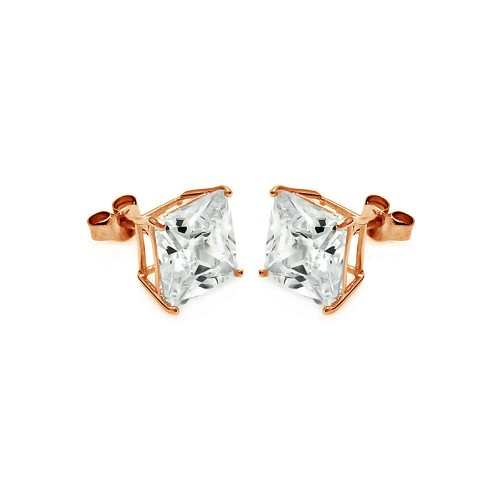 Wholesale Sterling Silver 925 Rose Gold Plated Princess Cut CZ Stud Earrings 8mm - STE00595RGP