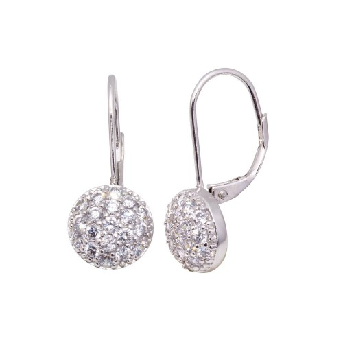 Wholesale Sterling Silver 925 Rhodium Plated Round CZ Huggie Earrings - STE00617