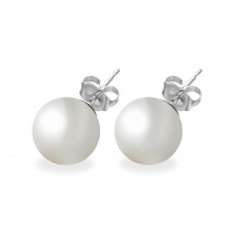 Wholesale Sterling Silver 925 Rhodium Plated White Pearl CZ Stud Earrings - STE00639WHT