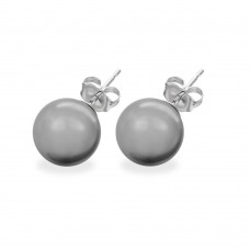 Wholesale Sterling Silver 925 Rhodium Plated Gray Pearl CZ Stud Earrings - STE00639GRY