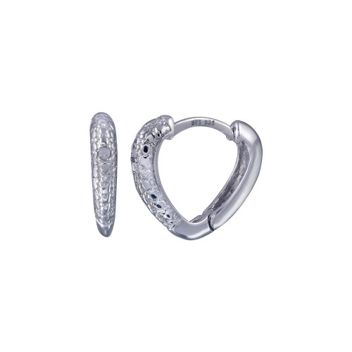 Wholesale Sterling Silver 925 Rhodium Plated Round Clear CZ Heart Huggie Earrings - STE00693