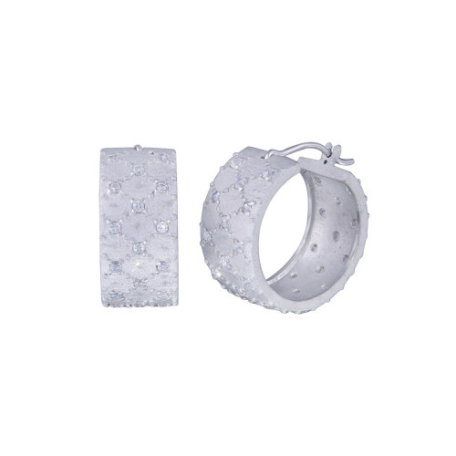 **Closeout** Wholesale Sterling Silver 925 Rhodium Plated Small Round Clear CZ Hoop Earrings - STE00763
