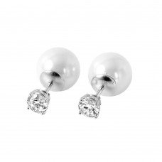 Wholesale Sterling Silver 925 Rhodium Plated Faux Pearl Clear CZ Stud Earrings - STE00984
