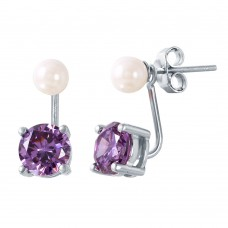 Wholesale Sterling Silver 925 Rhodium Plated Pearl Purple CZ Earring - STE00990FEB