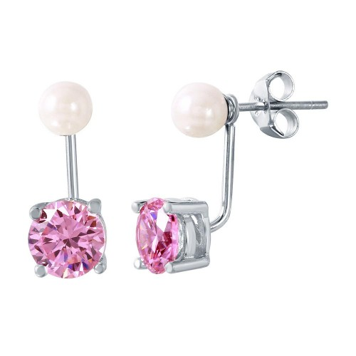 Wholesale Sterling Silver 925 Rhodium Plated Pearl Pink CZ Earring - STE00990OCT
