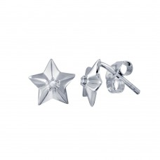 Wholesale Sterling Silver 925 Rhodium Plated Diamond Star Stud Earrings - STE00995DIA
