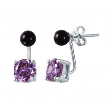 Wholesale Sterling Silver 925 Birthstone Mini Black Synthetic Pearl Purple CZ Stud Earrings - STE00999FEB