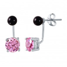 Wholesale Sterling Silver 925 Birthstone Mini Black Synthetic Pearl Pink CZ Stud Earrings - STE00999OCT