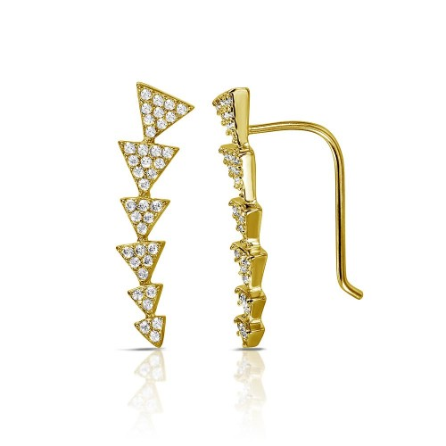 Wholesale Sterling Silver 925 Gold Plated 6 Arrow Up CZ Climbing Earrings - STE01067GP