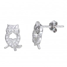 Sterling Silver Rhodium Plated Owl CZ Stud Earrings - STE01104
