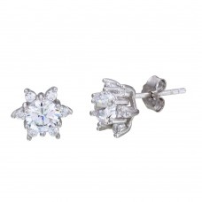 Sterling Silver Rhodium Plated CZ Flower Stud Earrings - STE01105
