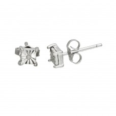 Sterling Silver Rhodium Plated Square Stud Earrings - STE01106