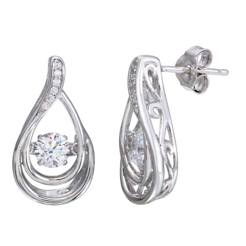Wholesale Sterling Silver 925 Rhodium Plated Open Teardrop Necklace with Dancing CZ - STE01107