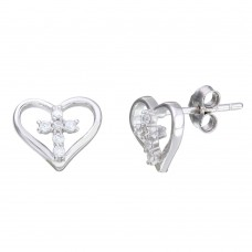 Sterling Silver Rhodium Plated Cross in Heart Stud Earrings - STE01112