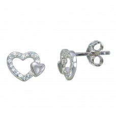 Sterling Silver Rhodium Plated Open Mini Heart Earrings with CZ - STE01113