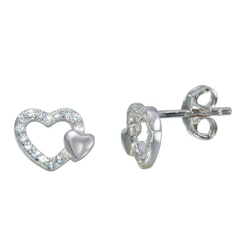 Wholesale Sterling Silver 925 Rhodium Plated Open Mini Heart Earrings with CZ - STE01113