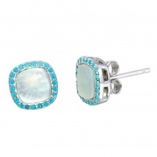 Sterling Silver Rhodium Plated Square Opal Stud Earrings with Blue CZ - STE01117BLU