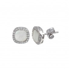 Wholesale Sterling Silver 925 Rhodium Plated Square Opal Stud Earrings with CZ - STE01117CLR