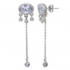 Wholesale Sterling Silver 925 Rhodium Plated 1 Chain Drop Earring with CZ - STE01119