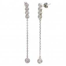 Sterling Silver Rhodium Plated Dangling CZ Earrings - STE01120