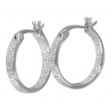Sterling Silver Rhodium Plated Inner and Outer CZ Hoop Earrings - STE01121
