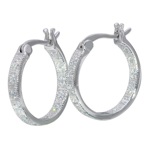 Wholesale Sterling Silver 925 Rhodium Plated Inner and Outer CZ Hoop Earrings - STE01121