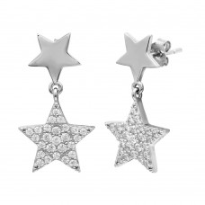 Sterling Silver Rhodium Plated Star Earrings with CZ - STE01122