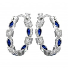 Sterling Silver Rhodium Plated Inner And Outer Blue Clear CZ Hoop Earrings - STE01122BLU