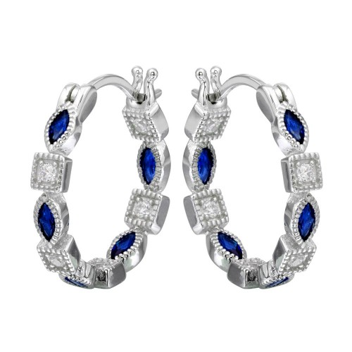 Wholesale Sterling Silver 925 Rhodium Plated Inner and Outer Blue Clear CZ Hoop Earrings - STE01122BLU
