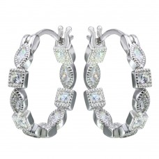 Sterling Silver Rhodium Plated Inner And Outer Clear CZ Hoop Earrings - STE01122CLR